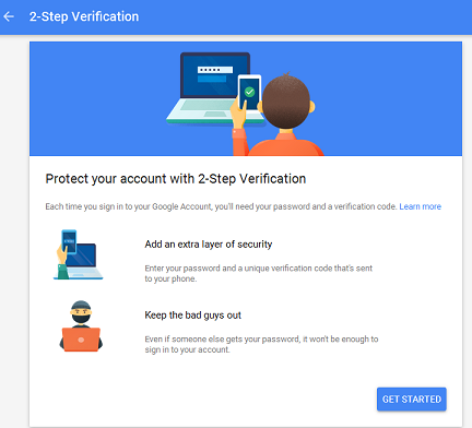 2 step verification gmail