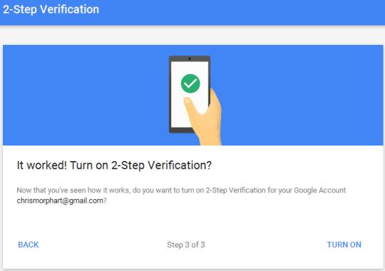 2 step verification gmail