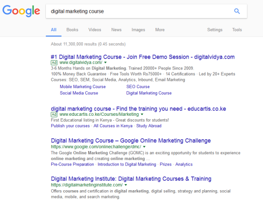 Digital marketing course Google search